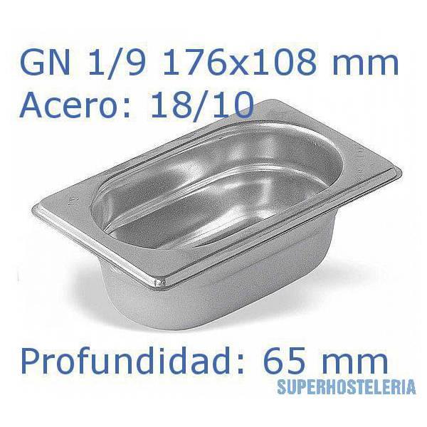 Cubeta Gn 1 9x65mm 18 10   07mm suministros hosteleros