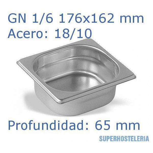 Cubeta Gn 1 6x65mm 18 10   07mm suministros hosteleros