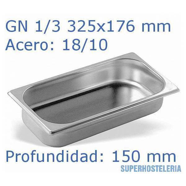 Cubeta Gn 1 3x150mm 18 10   08mm