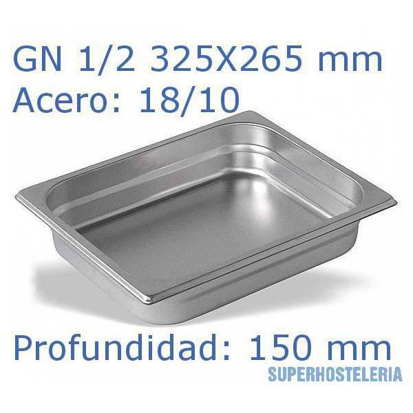 Cubeta Gn 1 2x150mm 18 10   08mm suministros hosteleros