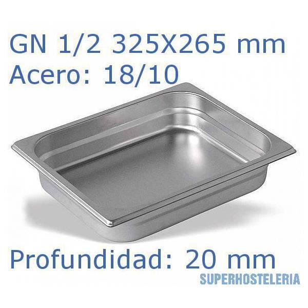 Cubeta Gn 1 2x20mm 18 10   08mm