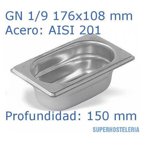 Cubeta Gn 1 9x150mm Aisi201   08mm suministros hosteleros