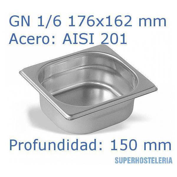 Cubeta Gn 1 6x150mm Aisi201   08mm
