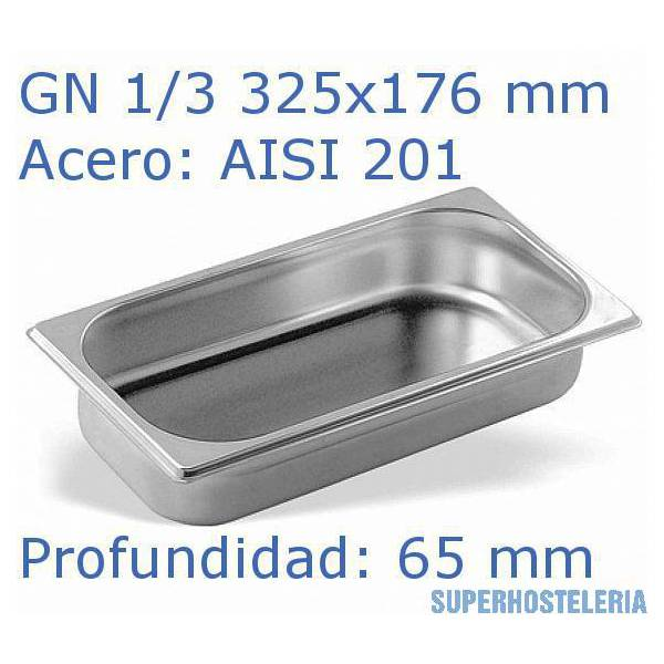 Cubeta Gn 1 3x65mm Aisi201   08mm suministros hosteleros