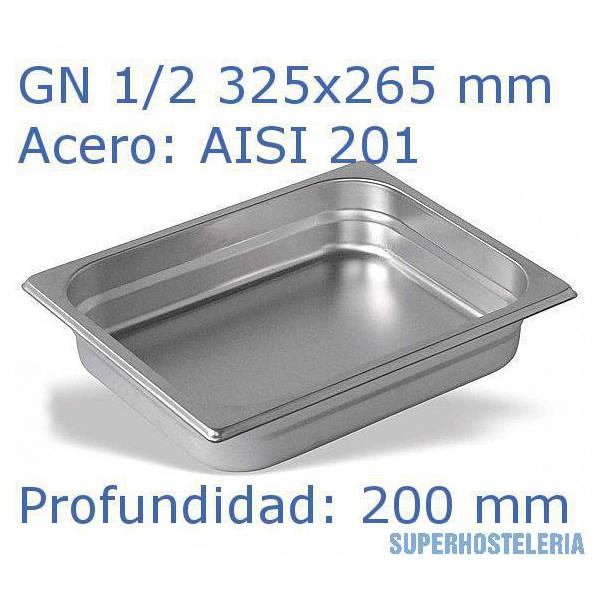 Cubeta Gn 1 2x200mm Aisi201   08mm suministros hosteleros