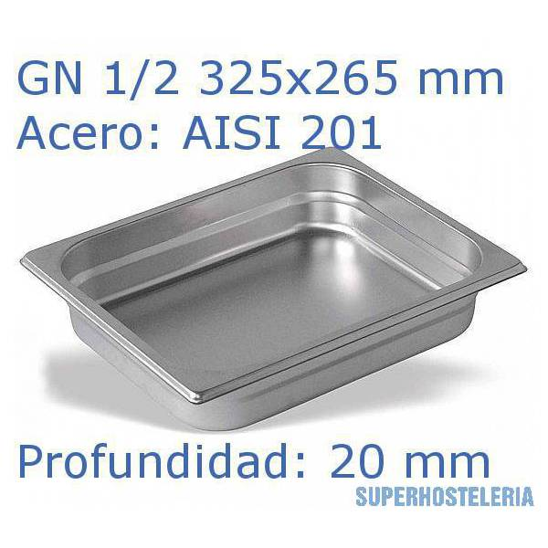 Cubeta Gn 1 2x20mm Aisi201   08mm suministros hosteleros