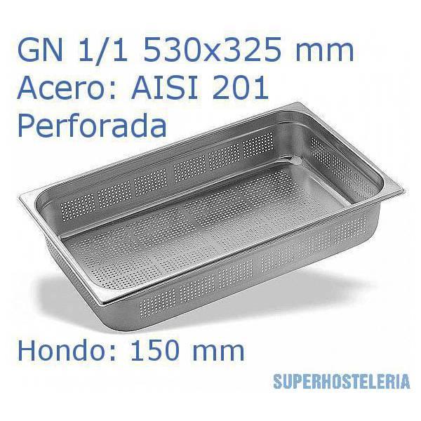 Cubeta Perforada 1 1x150mm Aisi201   08mm suministros hosteleros