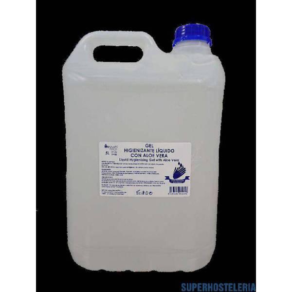 4 garrafas gel hidroalcohólico 5 litros Aloe Vera suministros hosteleros
