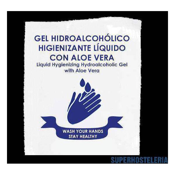 300 sobres Gel monodosis hidroalcohólico Aloe Vera 4 ml suministros hosteleros