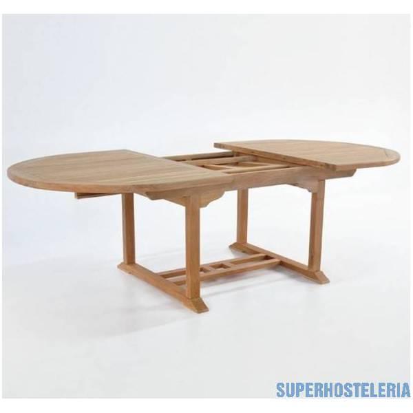 Mesa de teca ovalada extensible de 100 por 140 cm hasta 200 cm