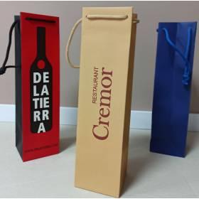 200 Bolsas Botella Personalizadas en Papel Lujo