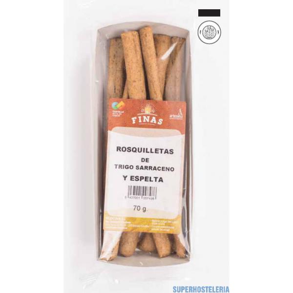 Caja rosquilletas de trigo sarraceno con espelta. Snack IFS Cert suministros hosteleros