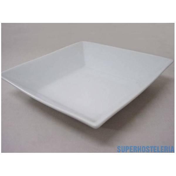 Plato Hondo Cuadrado Porcelana Blanc