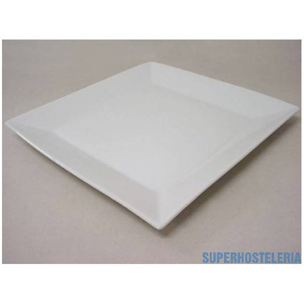 Plato Postre Cuadrado Porcelana Blanco