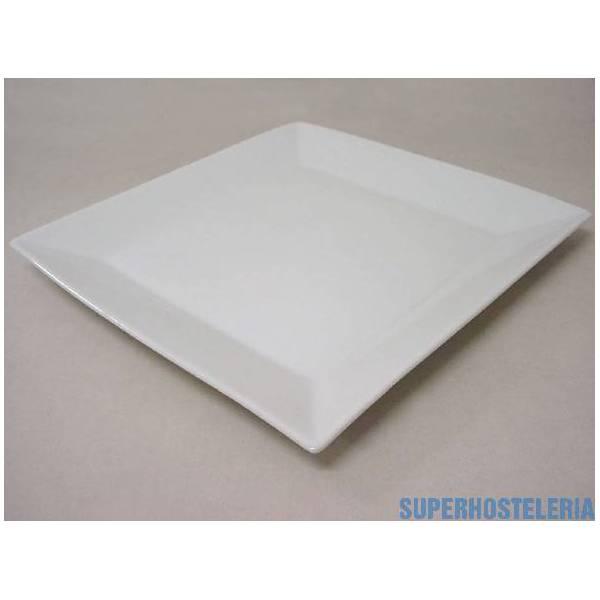 Plato Postre Cuadrado Porcelana Blanco suministros hosteleros