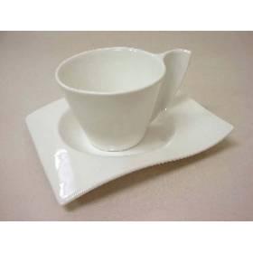 Taza Y Plato Grande Onda Porcelana Blanco
