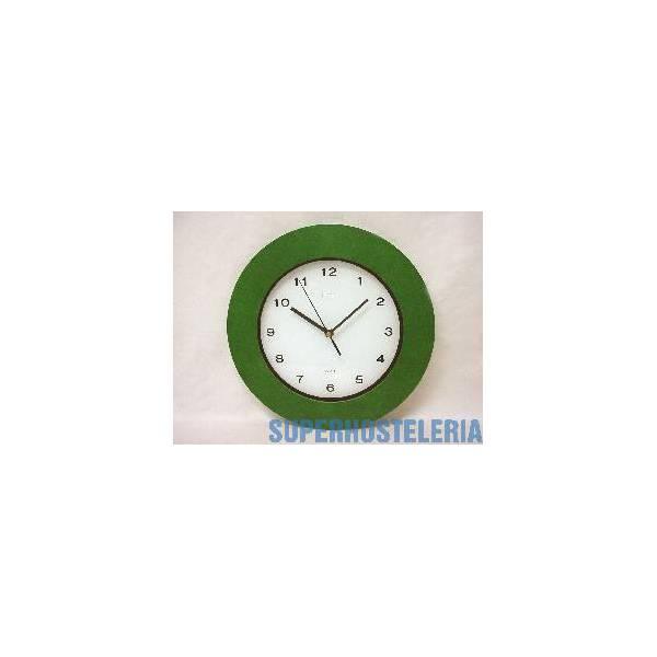 Reloj Redondo Madera Marco Verde suministros hosteleros