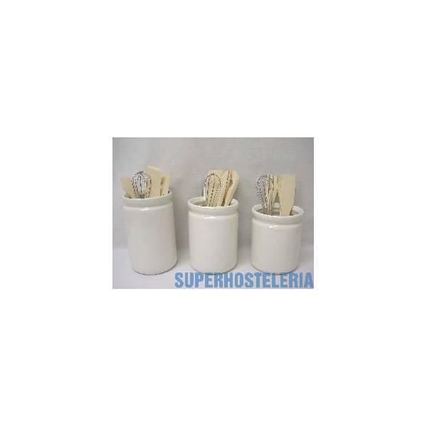 Juego 3 Botes Utensilios Ceramica Blanco suministros hosteleros