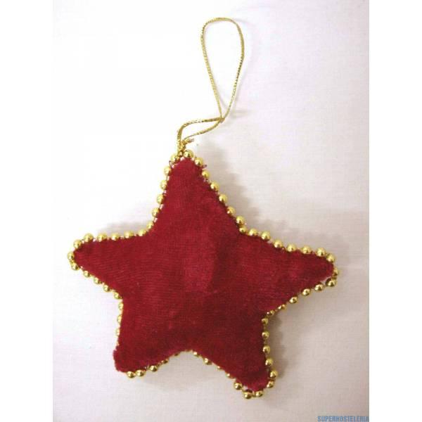 Colgante Navidad Felpa Estrella Rojo