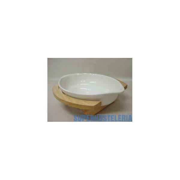Fuente Base Madera Ceramica Ovalada